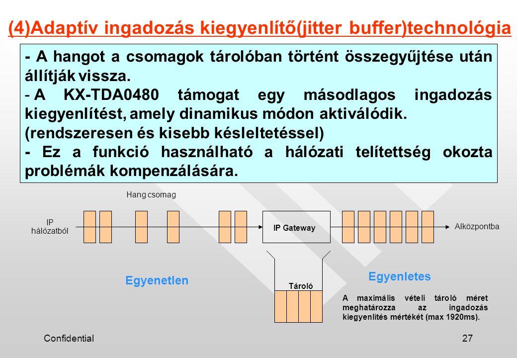 Confidential27 (4)Adaptív ingadozás kiegyenlítő(jitter buffer)technológia Alközpontba IP hálózatból Hang csomag IP Gateway - A hangot a csomagok tárolóban történt összegyűjtése után állítják vissza.