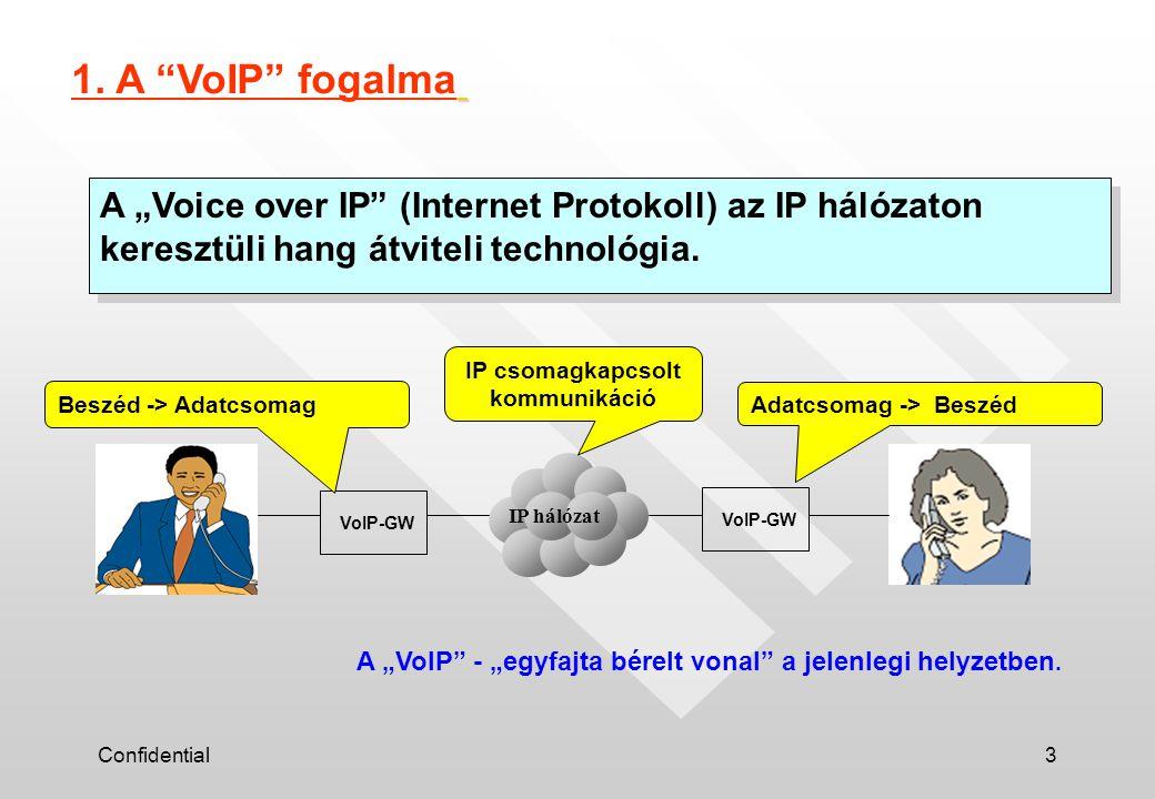 """Confidential3 A """"Voice over IP"""" (Internet Protokoll) az IP hálózaton keresztüli hang átviteli technológia. 1. A """"VoIP"""" fogalma IP hálózat VoIP-GW Besz"""