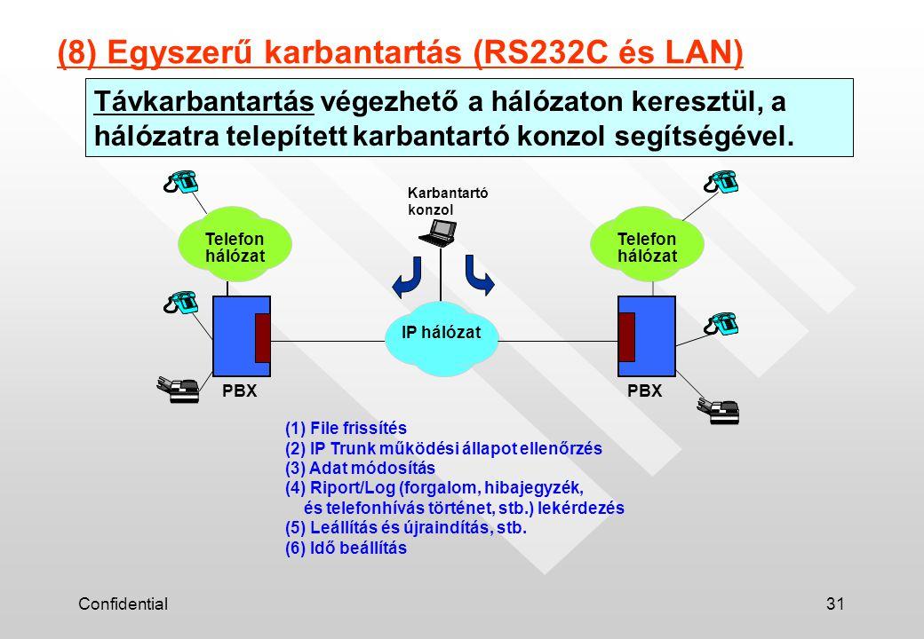 Confidential31 Távkarbantartás végezhető a hálózaton keresztül, a hálózatra telepített karbantartó konzol segítségével. (8) Egyszerű karbantartás (RS2