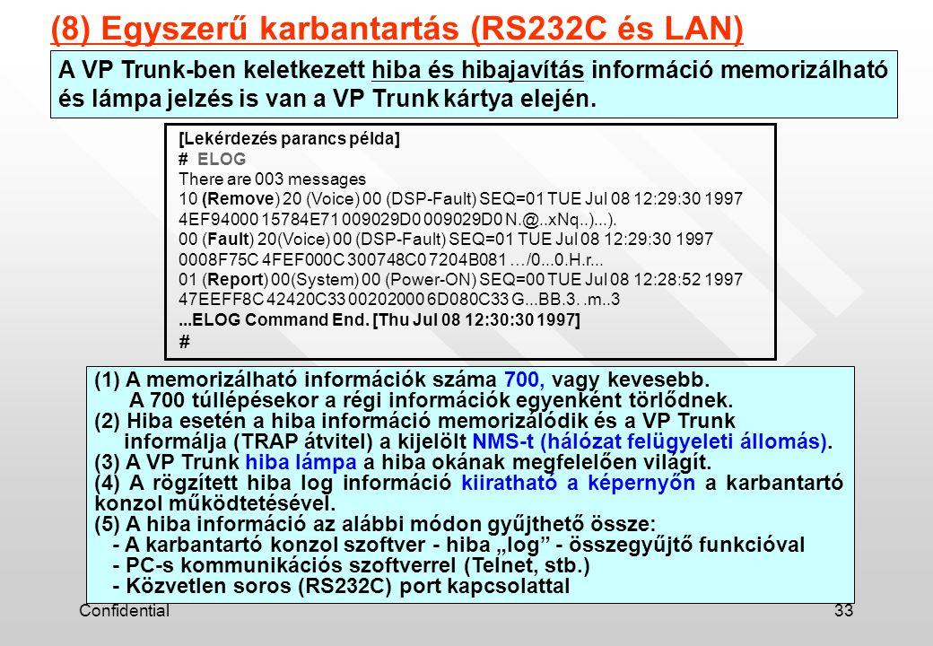 Confidential33 A VP Trunk-ben keletkezett hiba és hibajavítás információ memorizálható és lámpa jelzés is van a VP Trunk kártya elején. (8) Egyszerű k