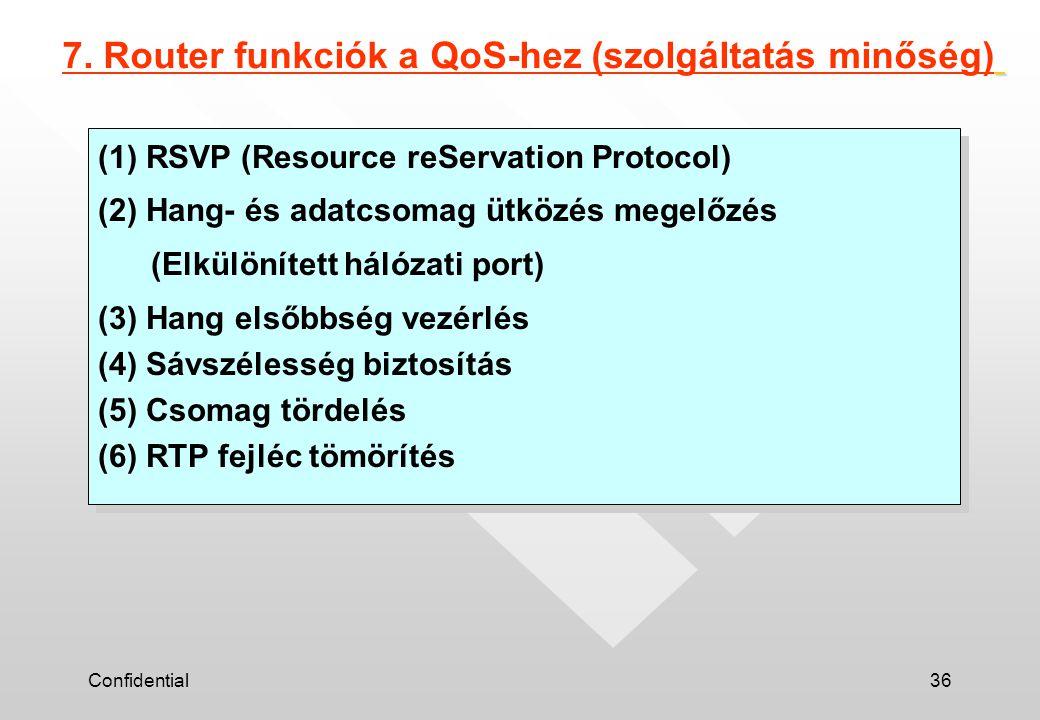 Confidential36 7. Router funkciók a QoS-hez (szolgáltatás minőség) (1) RSVP (Resource reServation Protocol) (2) Hang- és adatcsomag ütközés megelőzés