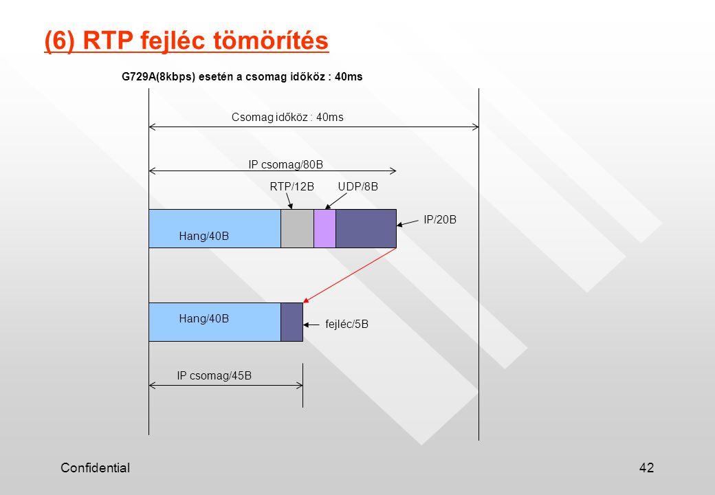 Confidential42 (6) RTP fejléc tömörítés Csomag időköz : 40ms Hang/40B RTP/12BUDP/8B IP/20B IP csomag/45B fejléc/5B G729A(8kbps) esetén a csomag időköz : 40ms IP csomag/80B