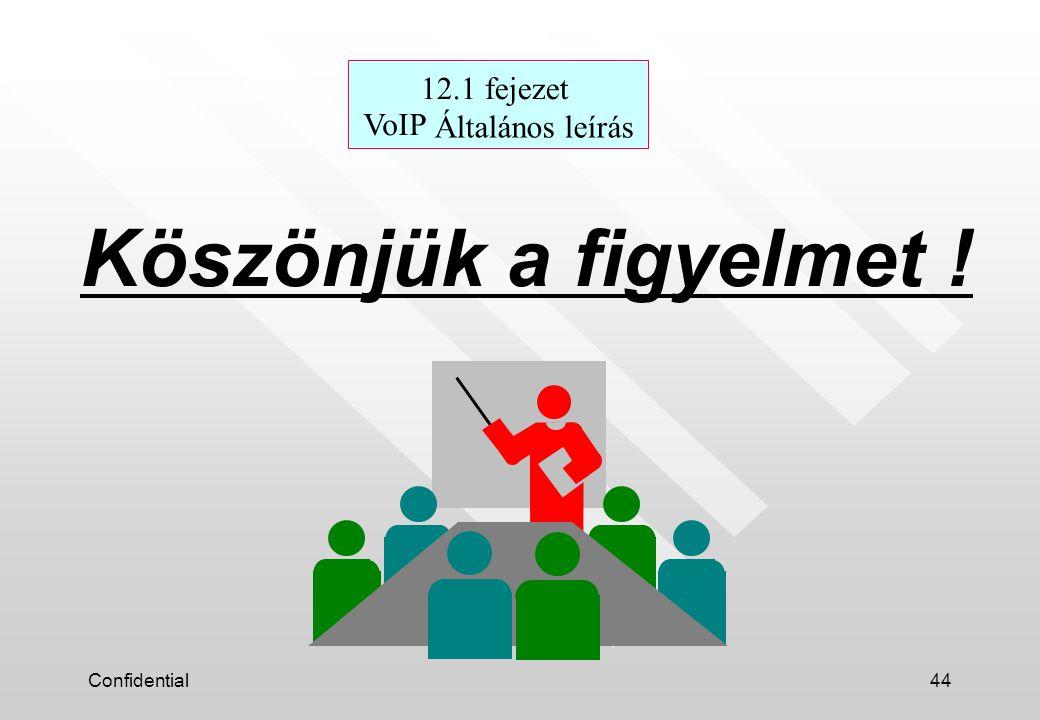 Confidential44 Köszönjük a figyelmet ! 12.1 fejezet VoIP Általános leírás