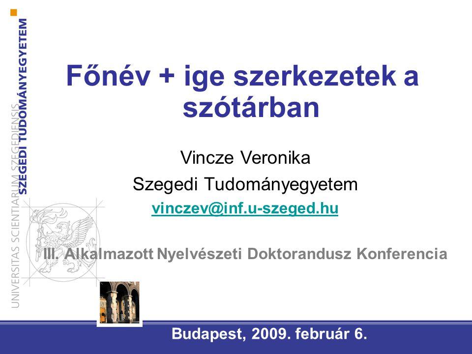 Főnév + ige szerkezetek a szótárban Budapest, 2009.