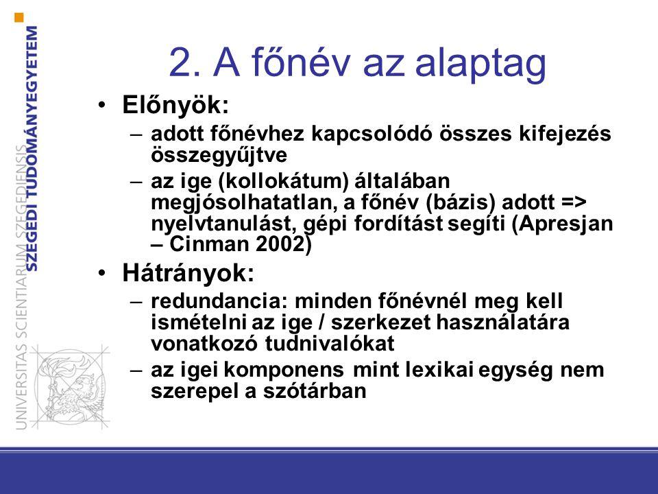 2. A főnév az alaptag •Előnyök: –adott főnévhez kapcsolódó összes kifejezés összegyűjtve –az ige (kollokátum) általában megjósolhatatlan, a főnév (báz