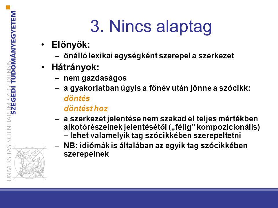 3. Nincs alaptag •Előnyök: –önálló lexikai egységként szerepel a szerkezet •Hátrányok: –nem gazdaságos –a gyakorlatban úgyis a főnév után jönne a szóc