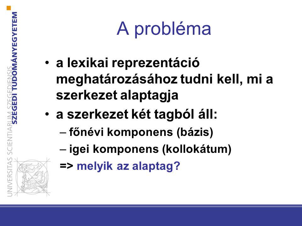 A probléma •a lexikai reprezentáció meghatározásához tudni kell, mi a szerkezet alaptagja •a szerkezet két tagból áll: –főnévi komponens (bázis) –igei komponens (kollokátum) => melyik az alaptag?