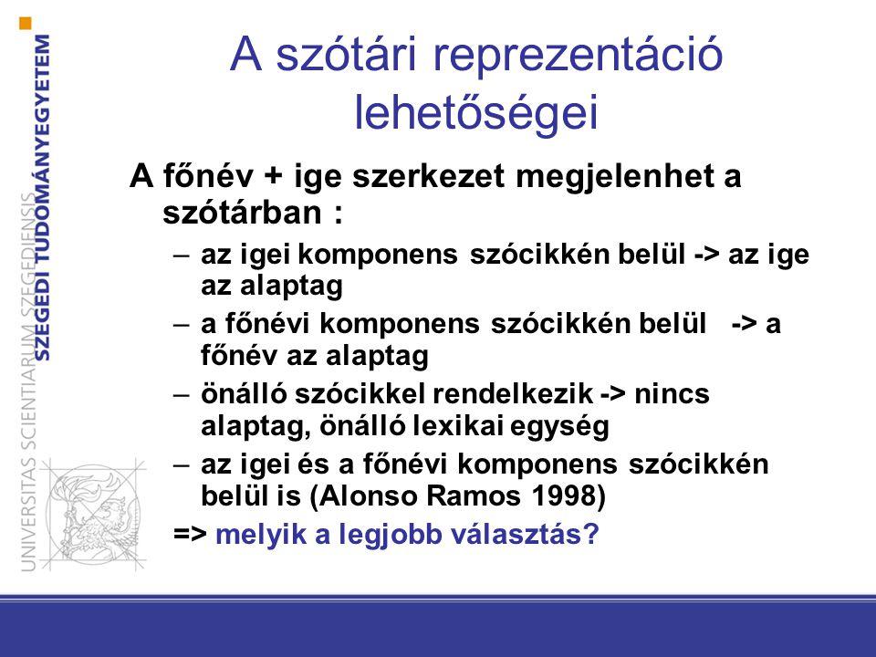 A szótári reprezentáció lehetőségei A főnév + ige szerkezet megjelenhet a szótárban : –az igei komponens szócikkén belül -> az ige az alaptag –a főnévi komponens szócikkén belül -> a főnév az alaptag –önálló szócikkel rendelkezik -> nincs alaptag, önálló lexikai egység –az igei és a főnévi komponens szócikkén belül is (Alonso Ramos 1998) => melyik a legjobb választás?