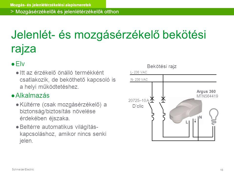 Schneider Electric 16 Mozgás- és jelenlétérzékelési alapismeretek Jelenlét- és mozgásérzékelő bekötési rajza ●Elv ●Itt az érzékelő önálló termékként c