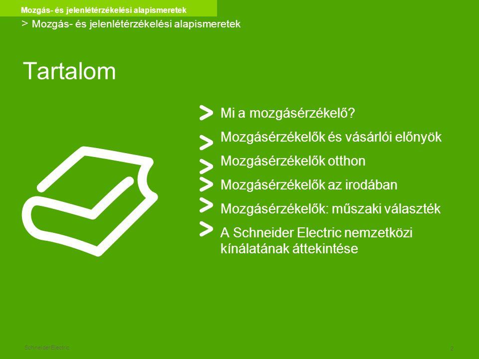 Schneider Electric 2 Mozgás- és jelenlétérzékelési alapismeretek Tartalom Mi a mozgásérzékelő? Mozgásérzékelők és vásárlói előnyök Mozgásérzékelők ott