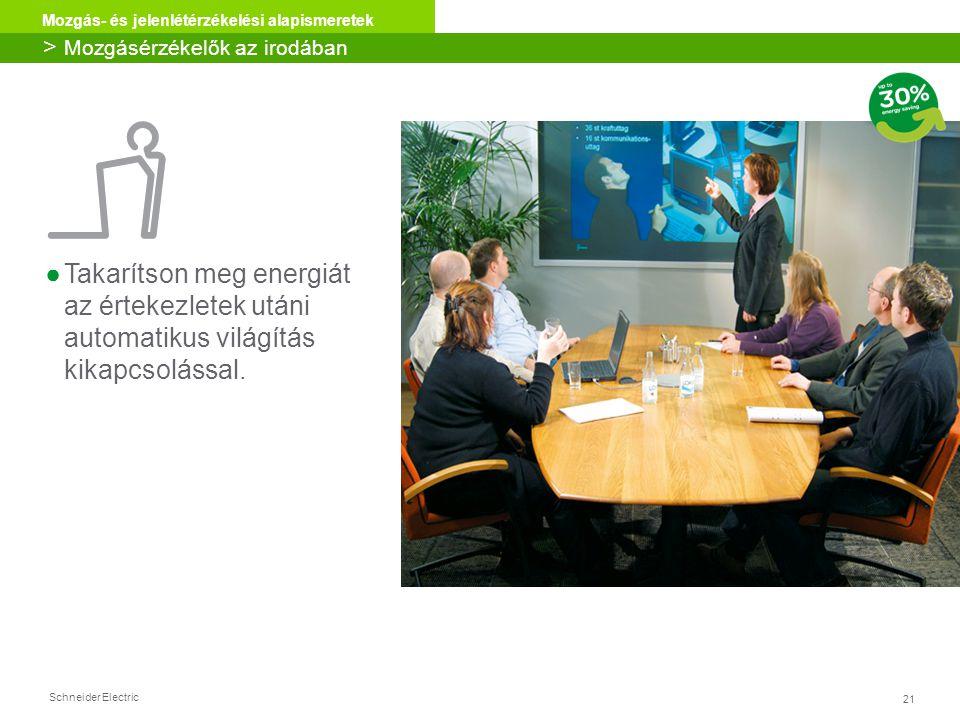 Schneider Electric 21 Mozgás- és jelenlétérzékelési alapismeretek ●Takarítson meg energiát az értekezletek utáni automatikus világítás kikapcsolással.