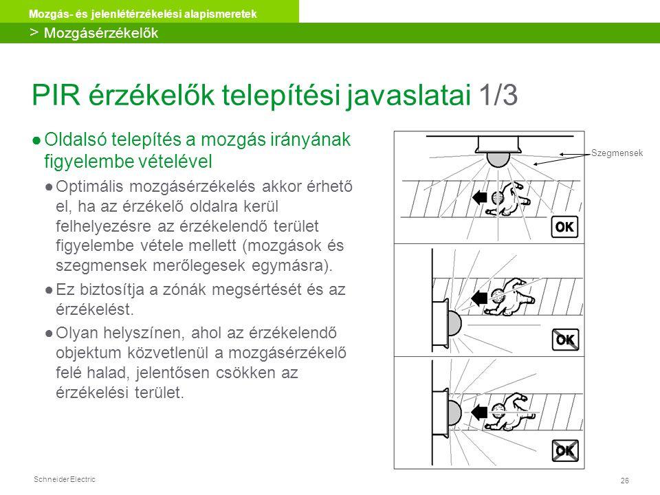 Schneider Electric 26 Mozgás- és jelenlétérzékelési alapismeretek PIR érzékelők telepítési javaslatai 1/3 ●Oldalsó telepítés a mozgás irányának figyel