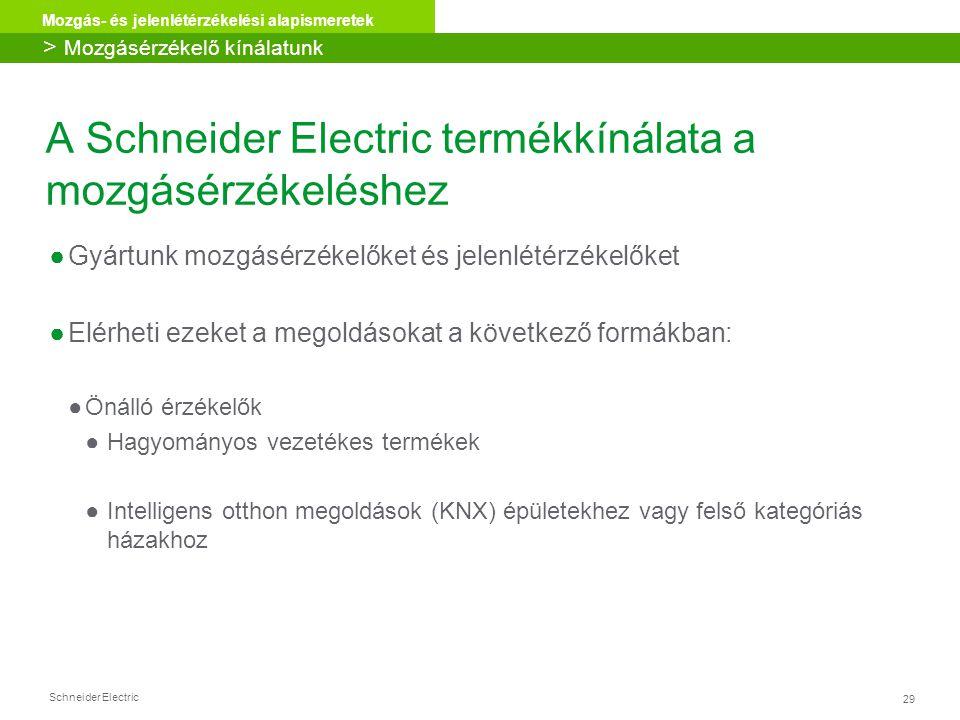 Schneider Electric 29 Mozgás- és jelenlétérzékelési alapismeretek A Schneider Electric termékkínálata a mozgásérzékeléshez ●Gyártunk mozgásérzékelőket