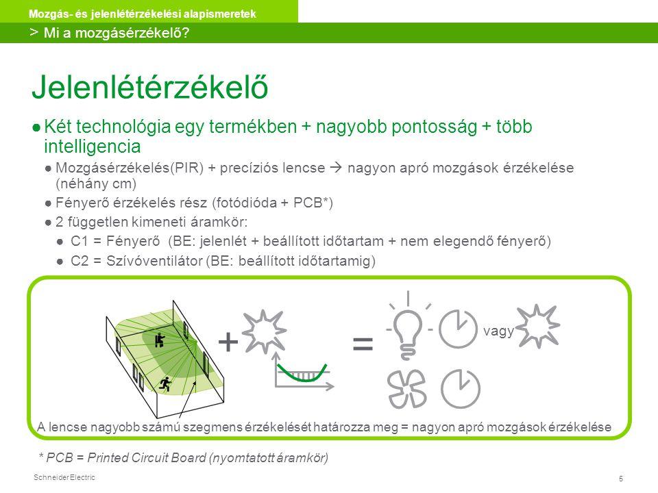 Schneider Electric 5 Mozgás- és jelenlétérzékelési alapismeretek Jelenlétérzékelő ●Két technológia egy termékben + nagyobb pontosság + több intelligen