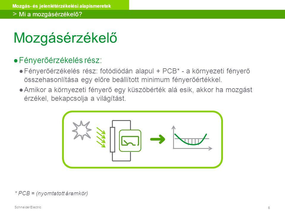 Schneider Electric 6 Mozgás- és jelenlétérzékelési alapismeretek Mozgásérzékelő ●Fényerőérzékelés rész: ●Fényerőérzékelés rész: fotódiódán alapul + PC