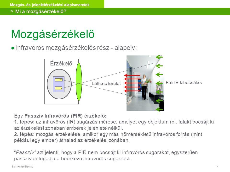 Schneider Electric 7 Mozgás- és jelenlétérzékelési alapismeretek Egy Passzív Infravörös (PIR) érzékelő: 1. lépés: az infravörös (IR) sugárzás mérése,