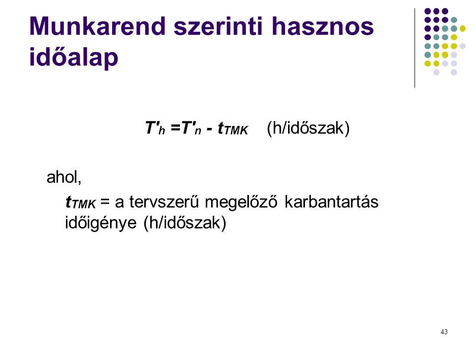 43 Munkarend szerinti hasznos időalap T' h =T' n - t TMK (h/időszak) ahol, t TMK = a tervszerű megelőző karbantartás időigénye (h/időszak)