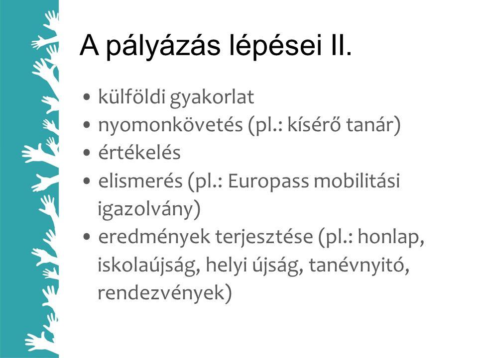 A pályázás lépései II. • külföldi gyakorlat • nyomonkövetés (pl.: kísérő tanár) • értékelés • elismerés (pl.: Europass mobilitási igazolvány) • eredmé