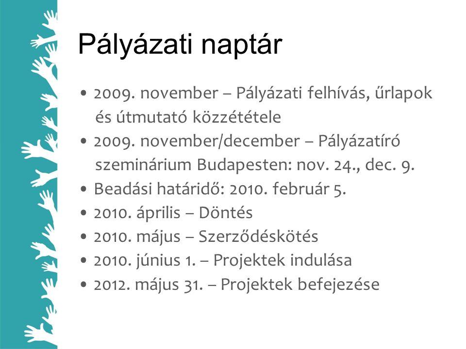 Pályázati naptár • 2009. november – Pályázati felhívás, űrlapok és útmutató közzététele • 2009. november/december – Pályázatíró szeminárium Budapesten