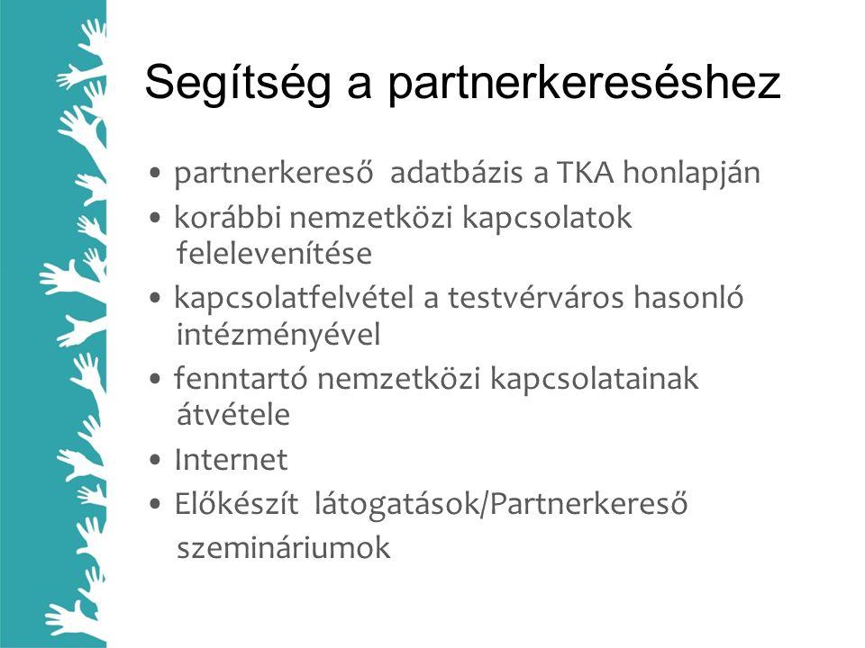 Segítség a partnerkereséshez • partnerkereső adatbázis a TKA honlapján • korábbi nemzetközi kapcsolatok felelevenítése • kapcsolatfelvétel a testvérváros hasonló intézményével • fenntartó nemzetközi kapcsolatainak átvétele • Internet • Előkészít látogatások/Partnerkereső szemináriumok