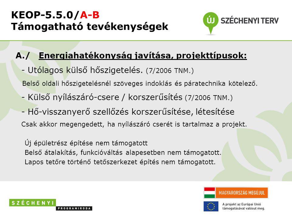 KEOP-5.5.0/A-B Támogatható tevékenységek A./ Energiahatékonyság javítása, projekttípusok: - Utólagos külső hőszigetelés. (7/2006 TNM.) Belső oldali hő