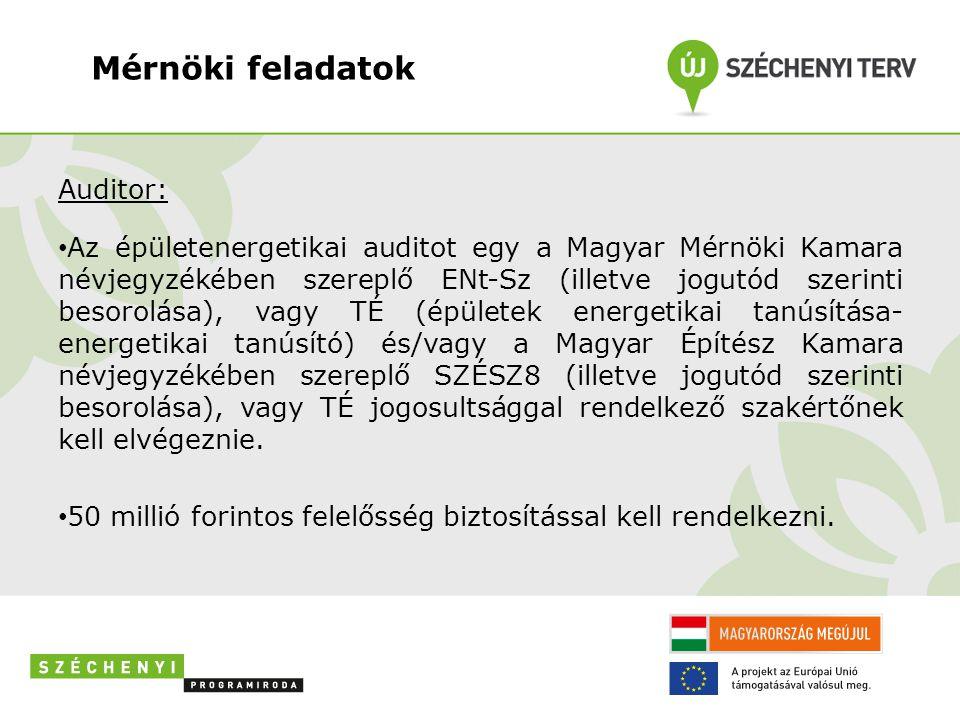 Mérnöki feladatok Auditor: • Az épületenergetikai auditot egy a Magyar Mérnöki Kamara névjegyzékében szereplő ENt-Sz (illetve jogutód szerinti besorolása), vagy TÉ (épületek energetikai tanúsítása- energetikai tanúsító) és/vagy a Magyar Építész Kamara névjegyzékében szereplő SZÉSZ8 (illetve jogutód szerinti besorolása), vagy TÉ jogosultsággal rendelkező szakértőnek kell elvégeznie.