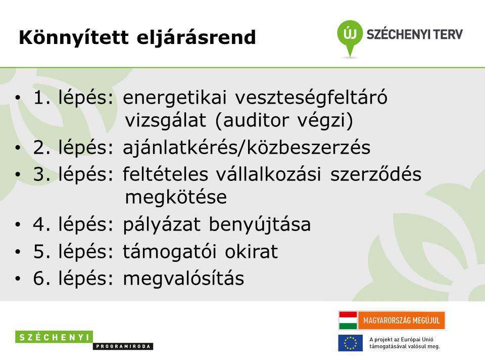 Könnyített eljárásrend • 1. lépés: energetikai veszteségfeltáró vizsgálat (auditor végzi) • 2. lépés: ajánlatkérés/közbeszerzés • 3. lépés: feltételes