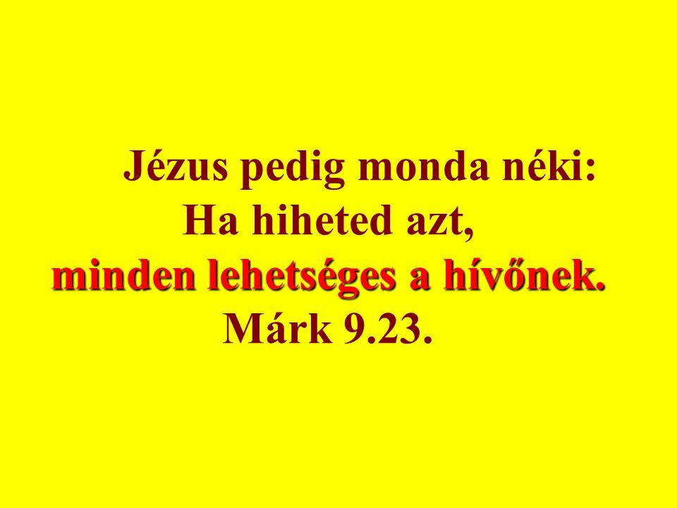 minden lehetséges a hívőnek. Jézus pedig monda néki: Ha hiheted azt, minden lehetséges a hívőnek. Márk 9.23.