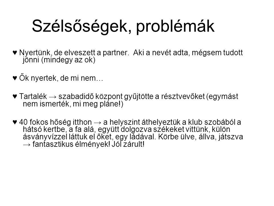 Szélsőségek, problémák ♥ Nyertünk, de elveszett a partner.