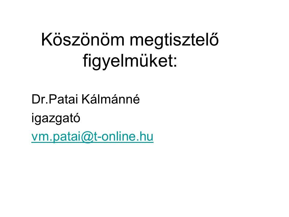 Köszönöm megtisztelő figyelmüket: Dr.Patai Kálmánné igazgató vm.patai@t-online.hu