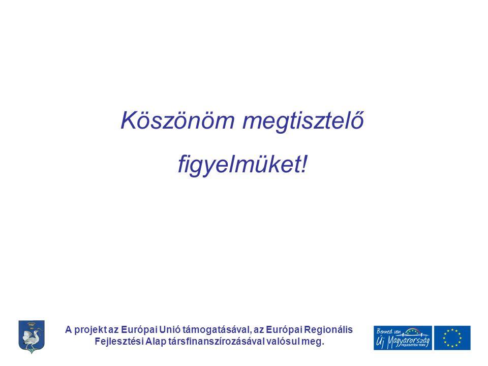 A projekt az Európai Unió támogatásával, az Európai Regionális Fejlesztési Alap társfinanszírozásával valósul meg. Köszönöm megtisztelő figyelmüket!