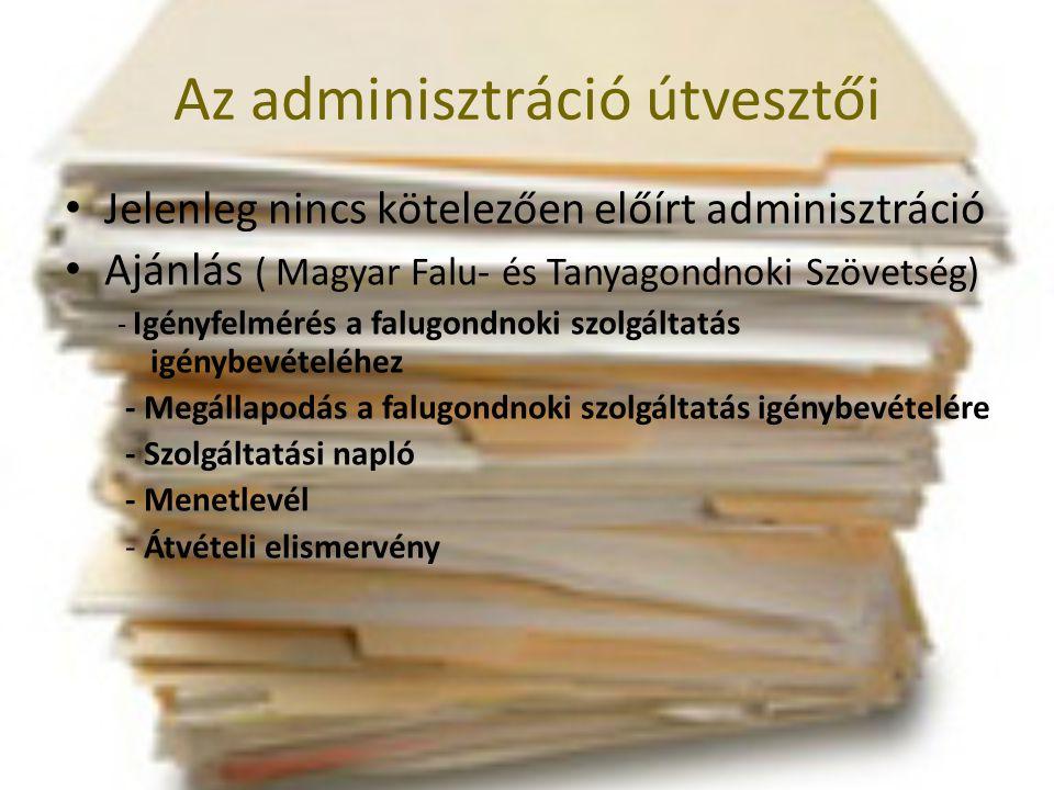 Az adminisztráció útvesztői • Jelenleg nincs kötelezően előírt adminisztráció • Ajánlás ( Magyar Falu- és Tanyagondnoki Szövetség) - Igényfelmérés a f