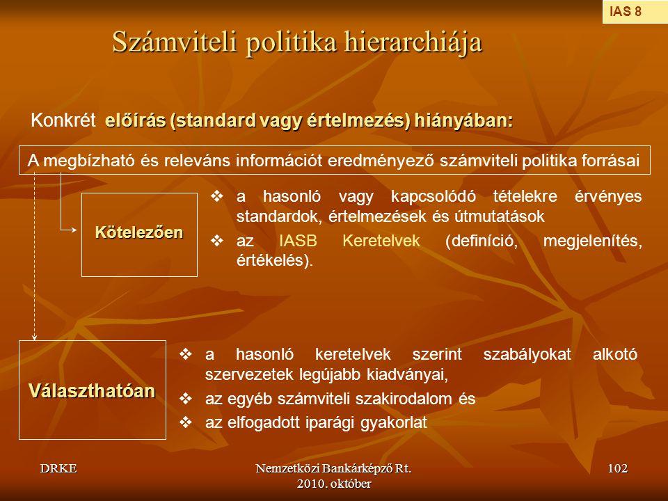 DRKENemzetközi Bankárképző Rt. 2010. október 102 Számviteli politika hierarchiája előírás (standard vagy értelmezés) hiányában: Konkrét előírás (stand