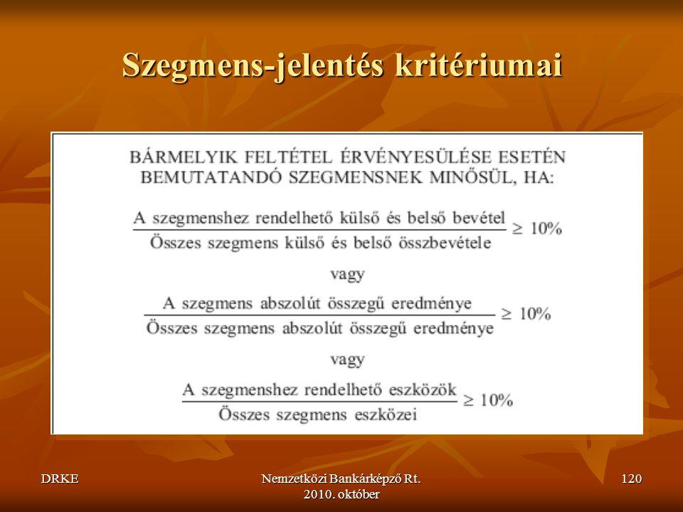 DRKENemzetközi Bankárképző Rt. 2010. október 120 Szegmens-jelentés kritériumai
