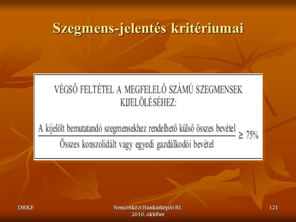 DRKENemzetközi Bankárképző Rt. 2010. október 121 Szegmens-jelentés kritériumai