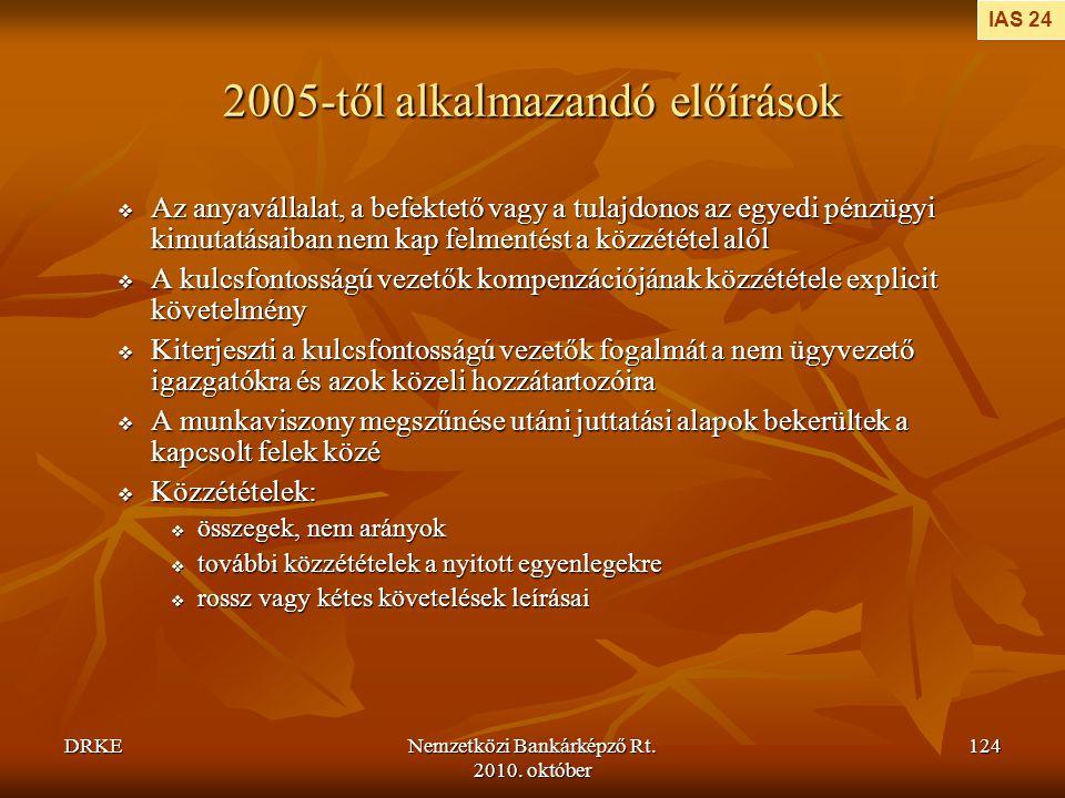 DRKENemzetközi Bankárképző Rt. 2010. október 124 2005-től alkalmazandó előírások  Az anyavállalat, a befektető vagy a tulajdonos az egyedi pénzügyi k