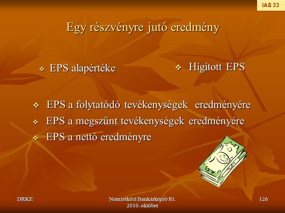 DRKENemzetközi Bankárképző Rt. 2010. október 126 Egy részvényre jutó eredmény  EPS alapértéke  Hígított EPS  EPS a folytatódó tevékenységek eredmén