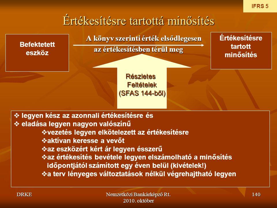 DRKENemzetközi Bankárképző Rt. 2010. október 140 Értékesítésre tartottá minősítés A könyv szerinti érték elsődlegesen az értékesítésben térül meg IFRS