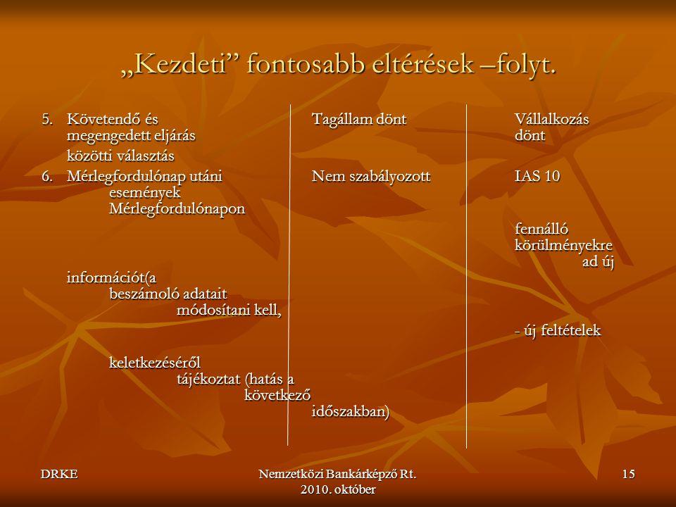 """DRKENemzetközi Bankárképző Rt. 2010. október 15 """"Kezdeti"""" fontosabb eltérések –folyt. 5.Követendő és Tagállam döntVállalkozás megengedett eljárásdönt"""