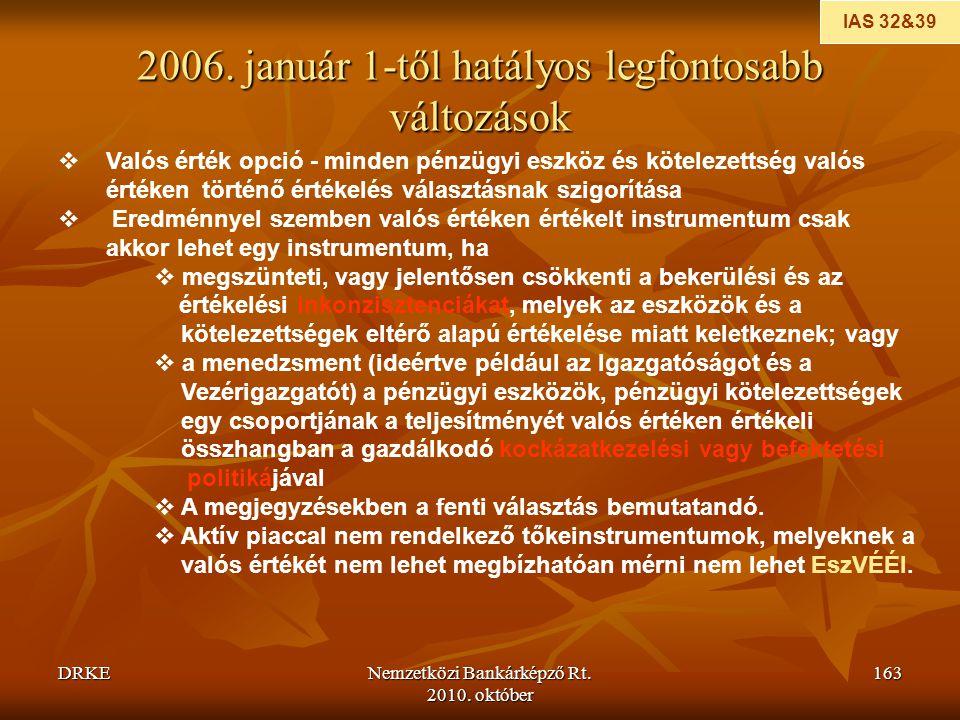 DRKENemzetközi Bankárképző Rt. 2010. október 163 2006. január 1-től hatályos legfontosabb változások  Valós érték opció - minden pénzügyi eszköz és k