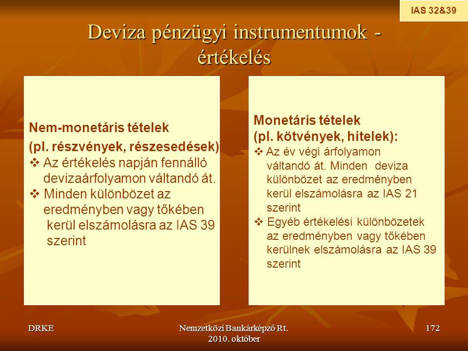 DRKENemzetközi Bankárképző Rt. 2010. október 172 Deviza pénzügyi instrumentumok - értékelés IAS 32&39 Nem-monetáris tételek (pl. részvények, részesedé