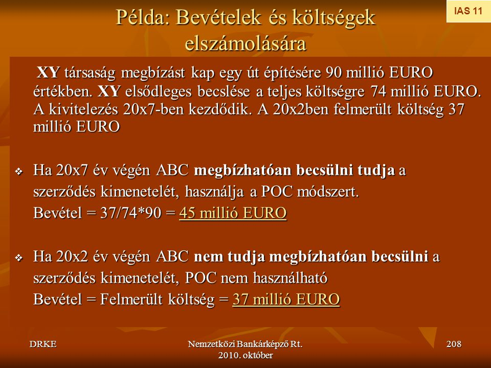 DRKENemzetközi Bankárképző Rt. 2010. október 208 Példa: Bevételek és költségek elszámolására XY társaság megbízást kap egy út építésére 90 millió EURO