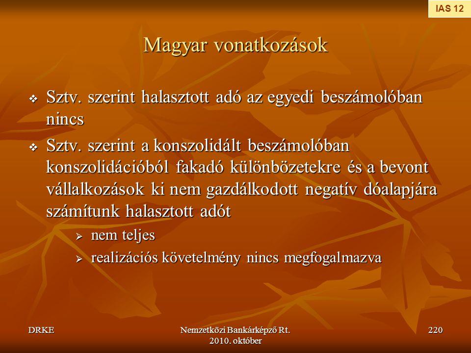 DRKENemzetközi Bankárképző Rt. 2010. október 220 Magyar vonatkozások  Sztv. szerint halasztott adó az egyedi beszámolóban nincs  Sztv. szerint a kon