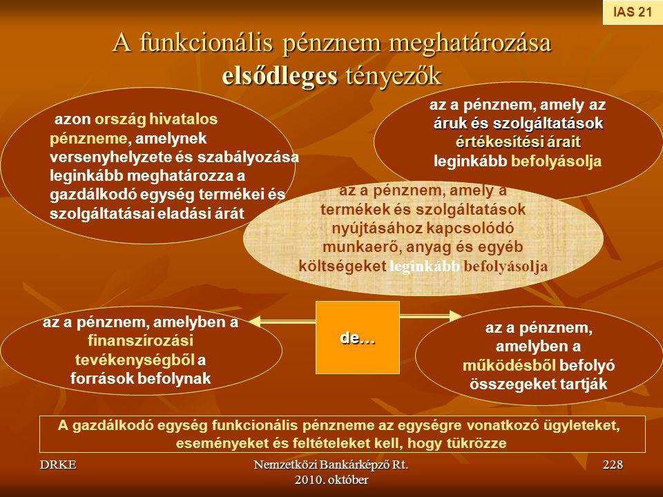 DRKENemzetközi Bankárképző Rt. 2010. október 228 A funkcionális pénznem meghatározása elsődleges tényezők IAS 21 azon ország hivatalos pénzneme, amely