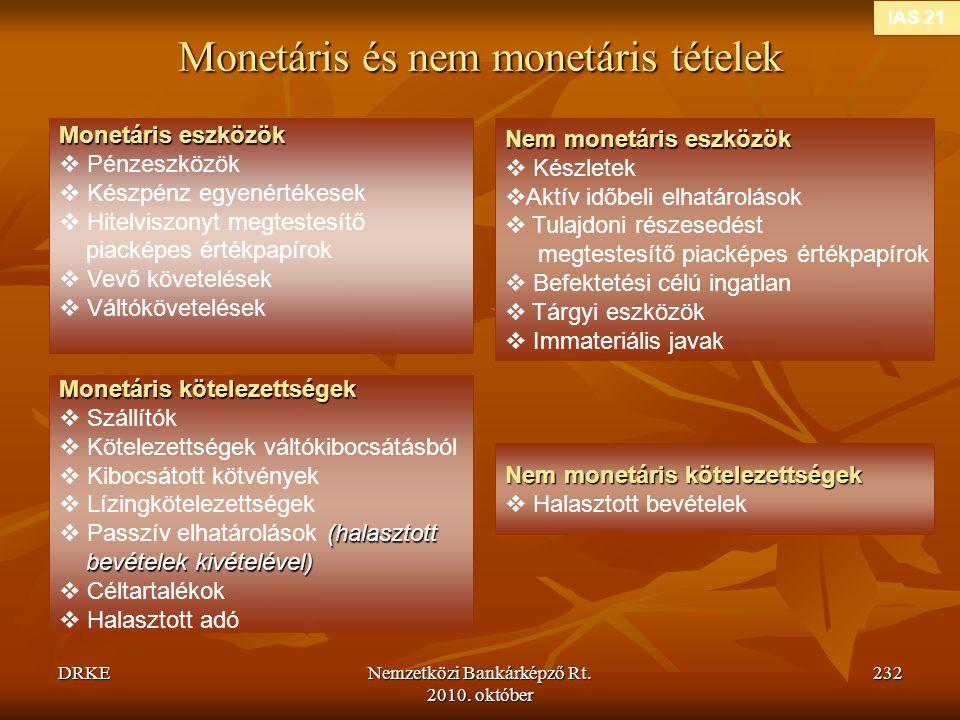DRKENemzetközi Bankárképző Rt. 2010. október 232 Monetáris és nem monetáris tételek IAS 21 Monetáris eszközök  Pénzeszközök  Készpénz egyenértékesek