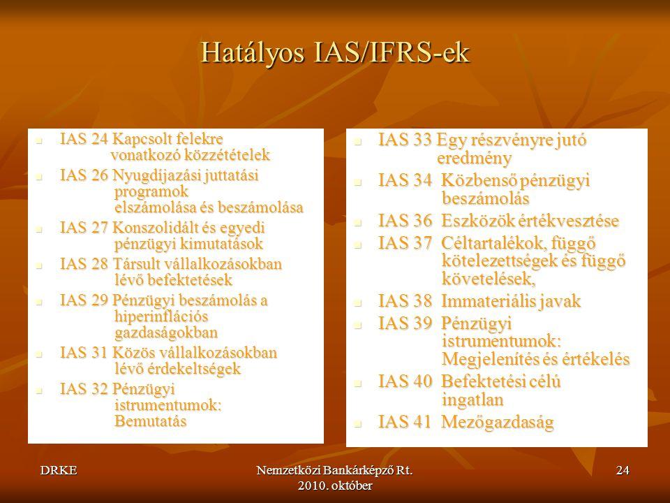 DRKENemzetközi Bankárképző Rt. 2010. október 24 Hatályos IAS/IFRS-ek  IAS 24 Kapcsolt felekre vonatkozó közzétételek  IAS 26 Nyugdíjazási juttatási