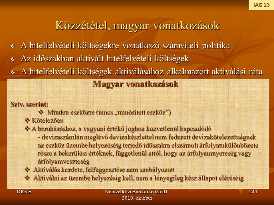 DRKENemzetközi Bankárképző Rt. 2010. október 241 Közzététel, magyar vonatkozások  A hitelfelvételi költségekre vonatkozó számviteli politika  Az idő