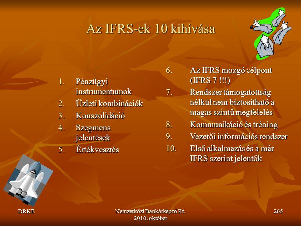 DRKENemzetközi Bankárképző Rt. 2010. október 265 Az IFRS-ek 10 kihívása 1.Pénzügyi instrumentumok 2.Üzleti kombinációk 3.Konszolidáció 4.Szegmens jele