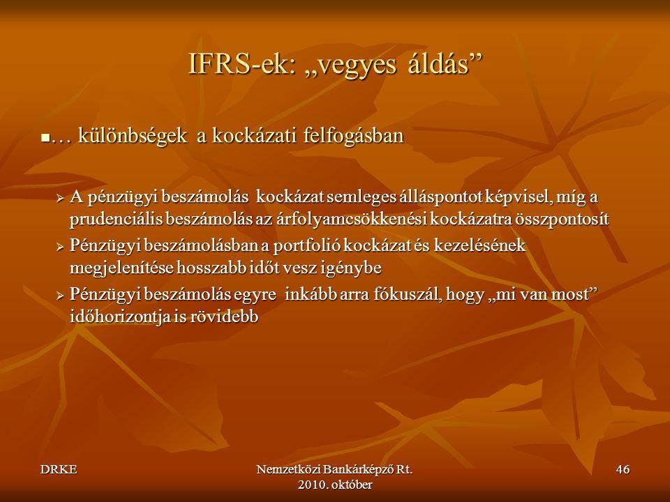 """DRKENemzetközi Bankárképző Rt. 2010. október 46 IFRS-ek: """"vegyes áldás""""  … különbségek a kockázati felfogásban  A pénzügyi beszámolás kockázat semle"""