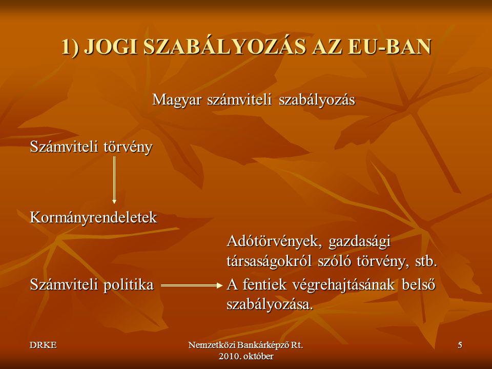 DRKENemzetközi Bankárképző Rt.2010. október 106  Számviteli politika vagy számviteli becslés.